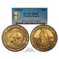 1915-S $50 Panama-Pacific Exposition Commemorative Round Gold Coin PCGS MS63