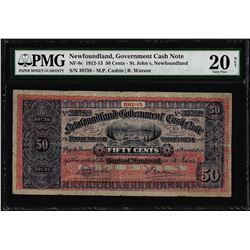 1912-13 Newfoundland 50 Cents Government Cash Note NF-8c PMG Very Fine 20 Net