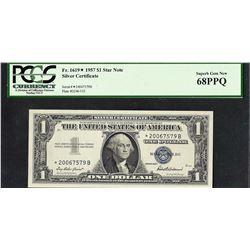 1957 $1 Silver Certificate STAR Note PCGS Superb Gem New 68PPQ