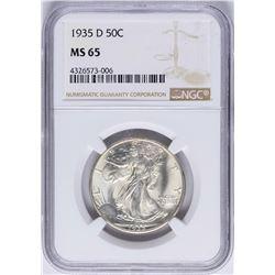 1935-D Walking Half Dollar Coin NGC MS65