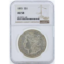 1893 $1 Morgan Silver Dollar Coin NGC AU58