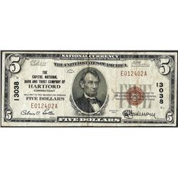 1929 $5 Capitol National Bank Hartford, CT CH#13038 National Currency Note