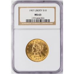 1907 $10 Liberty Head Eagle Gold Coin NGC MS63