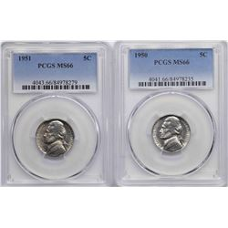 Lot of 1950-1951 Jefferson Nickel Coins PCGS MS66