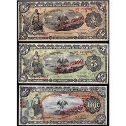 Lot of (3) 1914 Gobierno Provisional De Mexico Revolution Notes