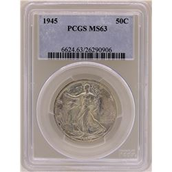1945 Walking Liberty Half Dollar Coin PCGS MS63