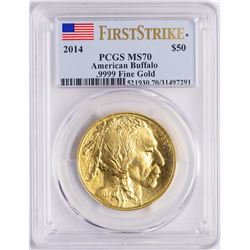 2014 $50 American Gold Buffalo Coin PCGS MS70 First Strike