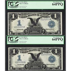 (2) Consecutive 1899 $1 Black Eagle Silver Certificate Note PCGS Choice New 64PP
