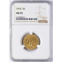 1910 $5 Indian Head Half Eagle Gold Coin NGC AU55