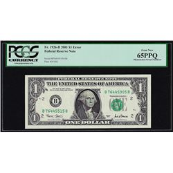 2001 $1 Federal Reserve Note Mismatched Serial Number ERROR PCGS Gem New 65PPQ