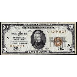 1929 $20 Federal Reserve Note Philadelphia