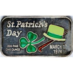 March 17, 1974 St. Patrick's Day Enamel Silver Art Bar