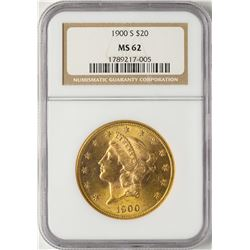 1900-S $20 Liberty Head Double Eagle Gold Coin NGC MS62