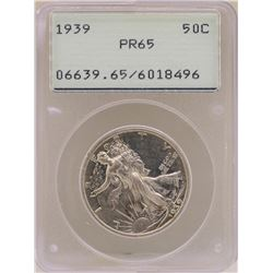 1939 Proof Walking Liberty Half Dollar Coin PCGS PR65 Old Green Rattler