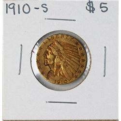 1910-S $5 Indian Head Half Eagle Gold Coin