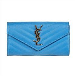 Saint Laurent Large Monogram Flap Wallet in Powder Blue Leather