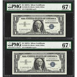 Lot of (2) Consecutive 1957A $1 Silver Certificate Notes PMG Superb Gem Unc. 67E