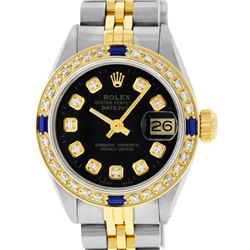 Rolex Ladies Two Tone Black Diamond & Sapphire Datejust Wristwatch