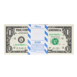 Pack of (100) Consecutive 2013 $1 Federal Reserve STAR Notes Dallas