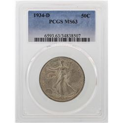 1934-D Walking Liberty Half Dollar Coin PCGS MS63