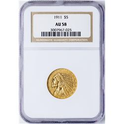 1911 $5 Indian Head Half Eagle Gold Coin NGC AU58
