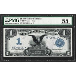 1899 $1 Black Eagle Silver Certificate Note Fr.228 PMG About Uncirculated 55