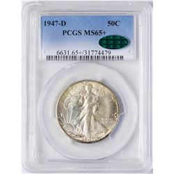 1947-D Walking Liberty Half Dollar Coin PCGS MS65+ CAC