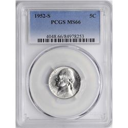 1952-S Jefferson Nickel Coin PCGS MS66