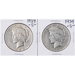 Lot of (2) 1934-S $1 Peace Silver Dollar Coins