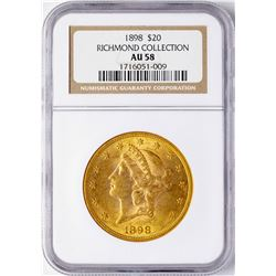 1898 $20 Liberty Head Double Eagle Gold Coin NGC AU58
