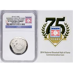 Opening Day 2014-S Proof Baseball Hall of Fame Half Dollar Coin NGC PF70