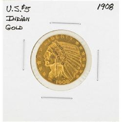 1908 $5 Indian Head Half Eagle Gold Coin