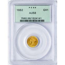 1862 Type 3 $1 Indian Princess Head Gold Dollar Coin PCGS AU58