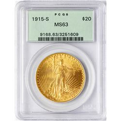 1915-S $20 St. Gaudens Double Eagle Gold Coin PCGS MS63 Old Green Holder