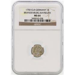 1750 Germany Bradenburg-Bayreuth 1 Kreutzer Coin NGC MS64
