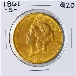 1861-S $20 Liberty Head Double Eagle Gold Coin
