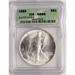 1986 $1 American Silver Eagle Coin ICG MS69