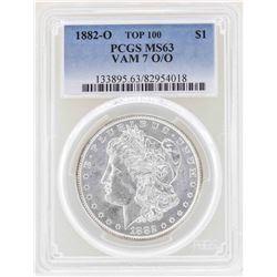 1882-O $1 Morgan Silver Dollar Coin VAM 7 O/O Top 100 PCGS MS63
