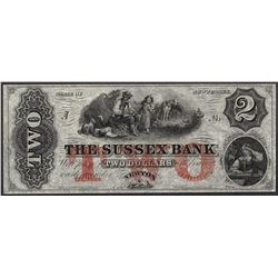 1800's $2 Sussex Bank New Jersey Obsolete Note