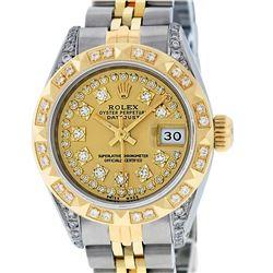 Rolex Ladies Two Tone 14K Champagne Diamond Lugs & Pyramid Datejust Wriswatch