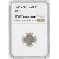 1808MF Denmark Skilling Coin NGC MS65