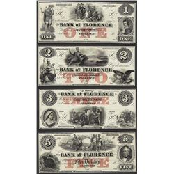 1800's $1/$2/$3/$5 Bank of Florence Obsolete Notes