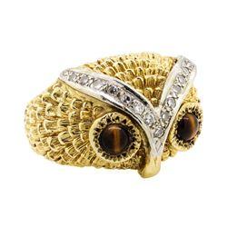 14KT Yellow Gold 0.65 ctw Tiger's Eye and Diamond Owl Motif Ring