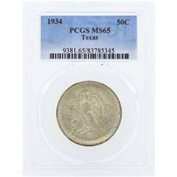 1934 Texas Commemorative Half Dollar Coin PCGS MS65