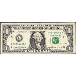 1988A $1 Federal Reserve Note ERROR Gutter Fold