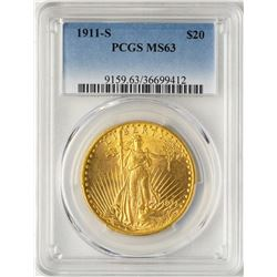 1911-S $20 St. Gaudens Double Eagle Gold Coin PCGS MS63