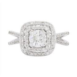 14KT White Gold Ladies 1.10 ctw Diamond Wedding Ring