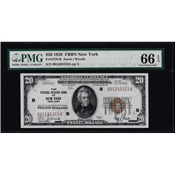 1929 $20 Federal Reserve Bank Note New York PMG Gem Uncirculated 66EPQ