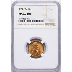 1947-S Lincoln Wheat Cent Coin NGC MS67RD