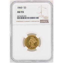 1860 $3 Indian Princess Head Gold Coin NGC AU55
